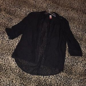 Black sheer button up